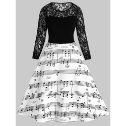 Music Note Lace Panel A Line Dress found on MODAPINS from dresslily for USD $23.56