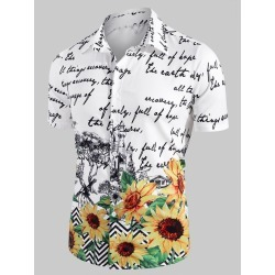 Sunflower Letter Print Short Sleeve Casual Shirt found on MODAPINS from dresslily for USD $26.99