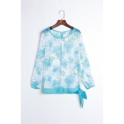 Women's Floral Print Pattern Chiffon Casual Puff Long Sleeve Tops Blouses Shirt found on MODAPINS from dresslily for USD $6.00