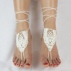 Pair of Vintage Geometric Woven Sandal Anklets