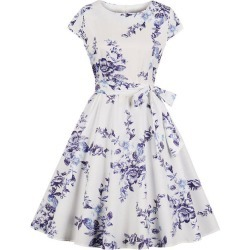 Belted Vintage Floral Print A Line Dress found on MODAPINS from dresslily for USD $20.02