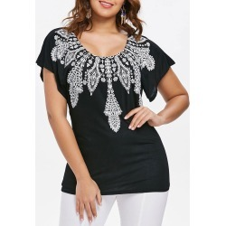 Indian Printed Short Sleeve T-shirt found on MODAPINS from dresslily for USD $16.60