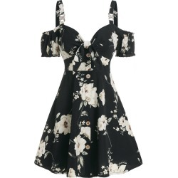 Floral Print Bowknot Cold Shoulder Dress found on MODAPINS from dresslily for USD $22.99