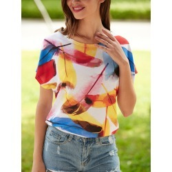 Multicolor Print Short Sleeve T-Shirt found on MODAPINS from dresslily for USD $6.60
