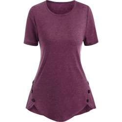 Mock Button Heather Short Sleeve T-shirt found on MODAPINS from dresslily for USD $19.99
