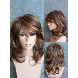 Medium Oblique Bang Highlighted Layered Slightly Curled Synthetic Wig