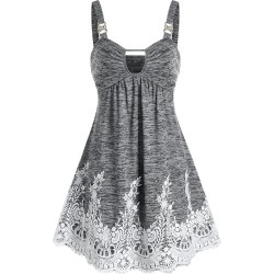 Keyhole Lace Insert Cami A Line Dress found on MODAPINS from dresslily for USD $19.99