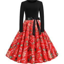 Christmas Print Belted Long Sleeve A Line Dress
