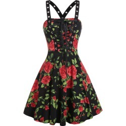 Rose Flower Lace Up A Line Dress found on MODAPINS from dresslily for USD $19.99