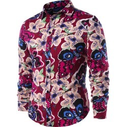 Butterfly Flower Print Casual Shirt found on MODAPINS from dresslily for USD $18.40