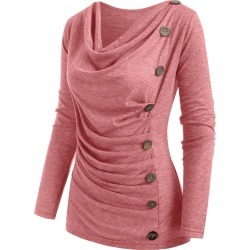 Heather Mock Button Cowl Neck T-shirt found on MODAPINS from dresslily for USD $19.99