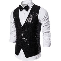 Glitter Sequins Tuxedo Vest with Bow Tie