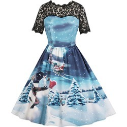 Snowman Print Lace Panel Vintage A Line Dress found on MODAPINS from dresslily for USD $10.99