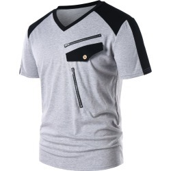 Color Block Zipper Embellished V Neck T-shirt found on MODAPINS from dresslily for USD $17.11
