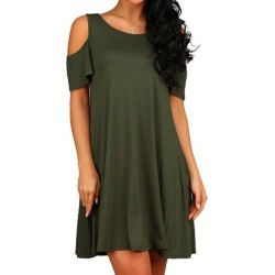 Solid Cold Shoulder Dress found on MODAPINS from dresslily for USD $15.51