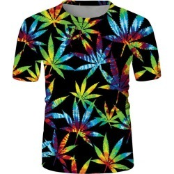 Colorful Maple Leaf Print Short Sleeve Crew Neck T Shirt found on MODAPINS from dresslily for USD $19.99
