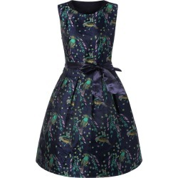 Birds Print Tie Belt Dress