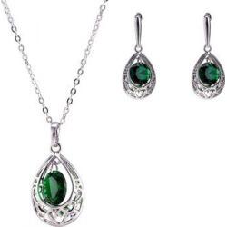 Teardrop Fake Emerald Jewelry Set