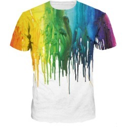 Watercolor 3D Digital Print Short Sleeve T-shirt found on MODAPINS from dresslily for USD $20.27