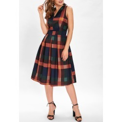 Sleeveless Checked Print A Line Dress found on MODAPINS from dresslily for USD $25.14