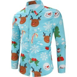 Christmas Candy Snowflakes Elk Print Casual Shirt found on MODAPINS from dresslily for USD $29.99