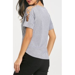 Lattice Cutting Shoulder Short Sleeve T-shirt found on MODAPINS from dresslily for USD $8.53