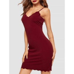 Scalloped Mini Bodycon Dress found on MODAPINS from dresslily for USD $14.99