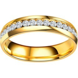 Stainless Steel Gold Plated Women'S Wedding Band Engagement CZ Ring found on MODAPINS from dresslily for USD $4.19