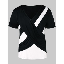 Contrast Color Cross Short Sleeve T-shirt found on MODAPINS from dresslily for USD $15.65