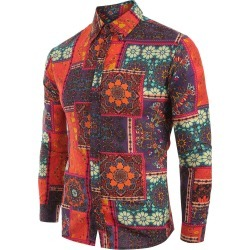 Ethnic Tribal Flowers Print Casual Shirt found on MODAPINS from dresslily for USD $19.32