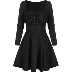 Retro Lace Up Square Neck A Line Dress found on MODAPINS from dresslily for USD $19.99