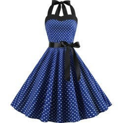 Polka Dot Halter Neck A Line Dress found on MODAPINS from dresslily for USD $22.54