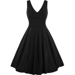 Vintage Sleeveless V Neck A Line Dress found on MODAPINS from dresslily for USD $20.09