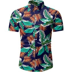 Tropical Leaf Print Button Up Beach Shirt found on MODAPINS from dresslily for USD $19.99