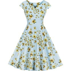 A Line Cap Sleeve Floral Vintage Dress found on MODAPINS from dresslily for USD $23.19