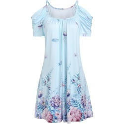 Cold Shoulder Flower Ruched A Line Dress found on MODAPINS from dresslily for USD $18.34