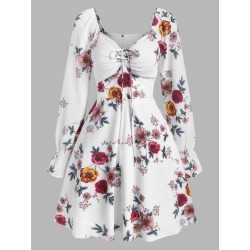 Floral Print Poet Sleeve Mini A Line Dress found on MODAPINS from dresslily for USD $19.99