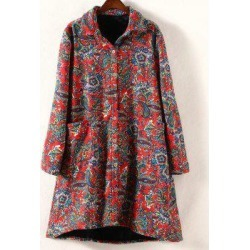 Turn-Down Collar Retro Print Plus Size Coat