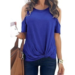 Open Shoulder Twisted Short Sleeve T-shirt found on MODAPINS from dresslily for USD $15.42