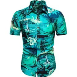Hawaii Palm Tree Landscape Print Beach Shirt found on MODAPINS from dresslily for USD $19.99
