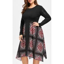 Handkerchief Floral Print Plus Size Dress