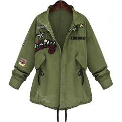 Patched Zip Up Plus Size Coat