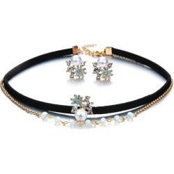 Faux Pearl Rhinestone Floral Jewelry Set