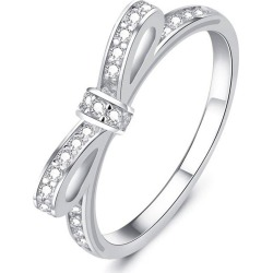 Diamond Crystal Bow Womens Fashion Finger Wedding Ring
