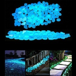 100 Pcs Romantic Night Blue Luminous Artificial Stones Set Home Garden Decoration