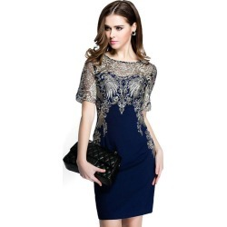 Women High Quality Embroidery Patchwork Hollow Out Dress Casual Short Sleeve Slim Women's Dresses