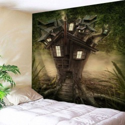 Tree House Print Tapestry Wall Hanging Art Decoration