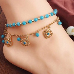 Faux Turquoise Beads Flower Charm Beaded Anklets