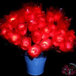 1 Piece Valentine's Day Gift LED Light Artificial Silk Flowers