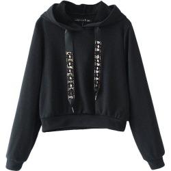Women's Sapphire Drawstring Short Hooded Sweatshirt